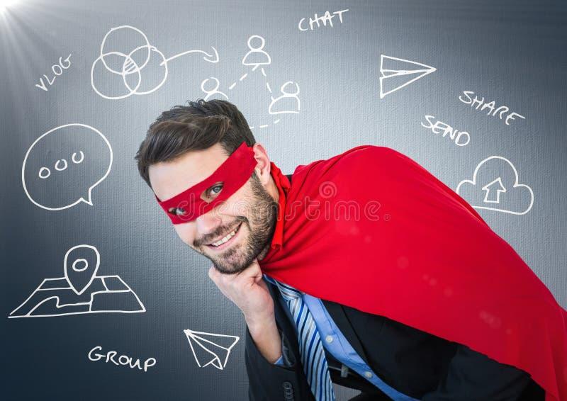 Superhero för affärsman med huvudet förestående mot marinbakgrund med den vita affärsklotter och flaen fotografering för bildbyråer