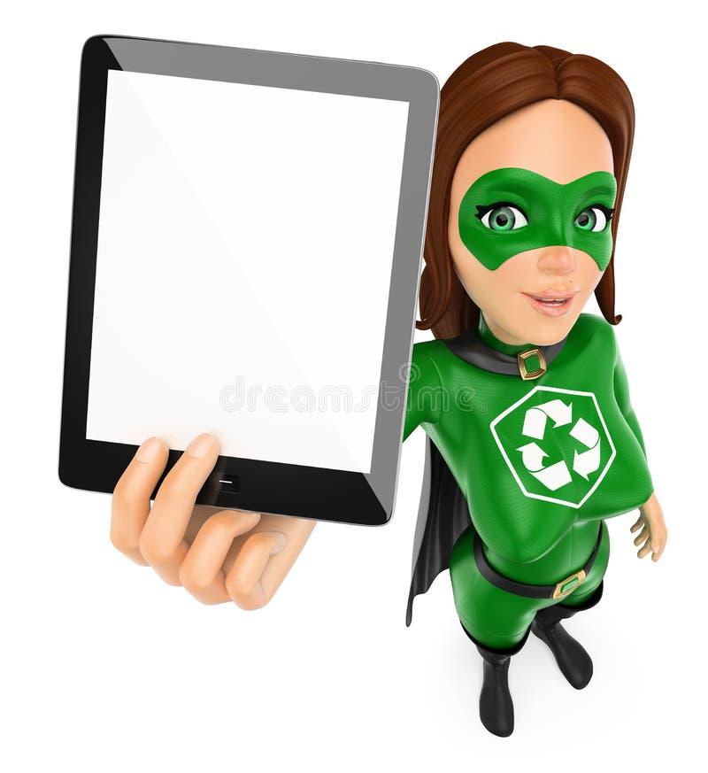 superhero för kvinna 3D av återvinning som visar en minnestavla med tom scre stock illustrationer