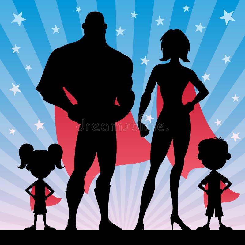 Superhero Family stock illustration