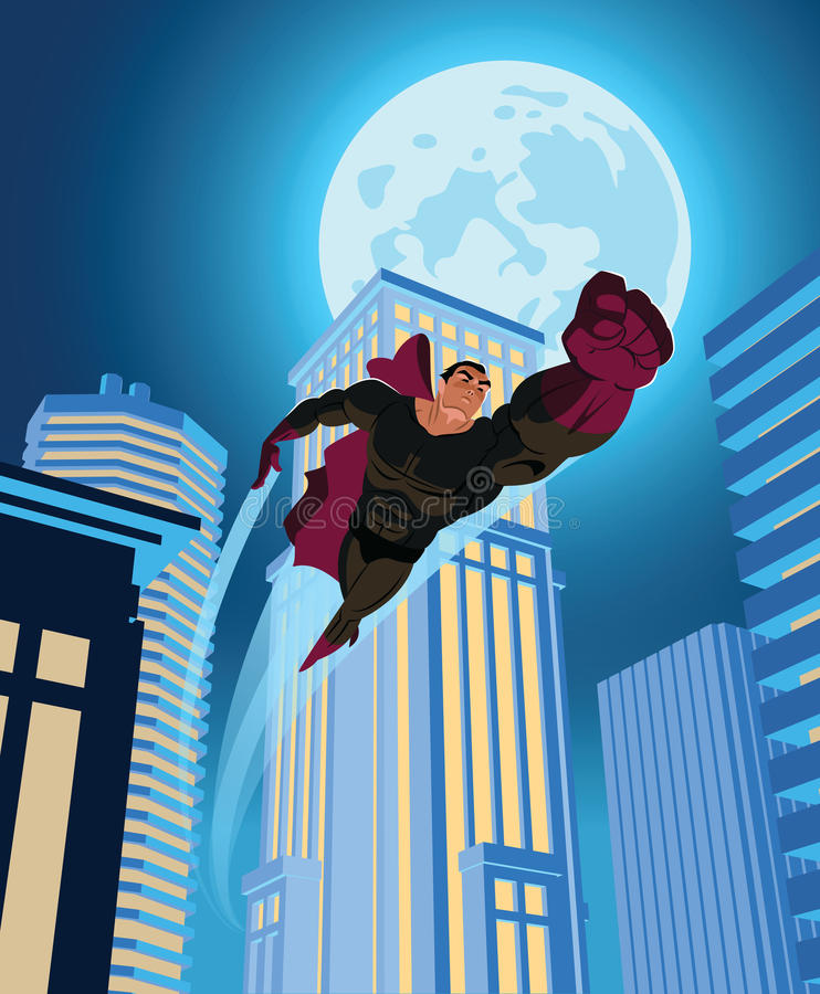 Superhero flying through the night city. vector illustration
