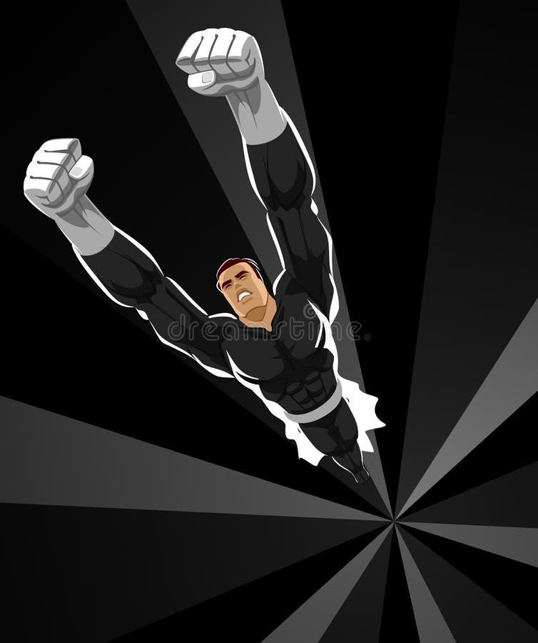 Superhero flying up on dark night. Vector illustration vector illustration