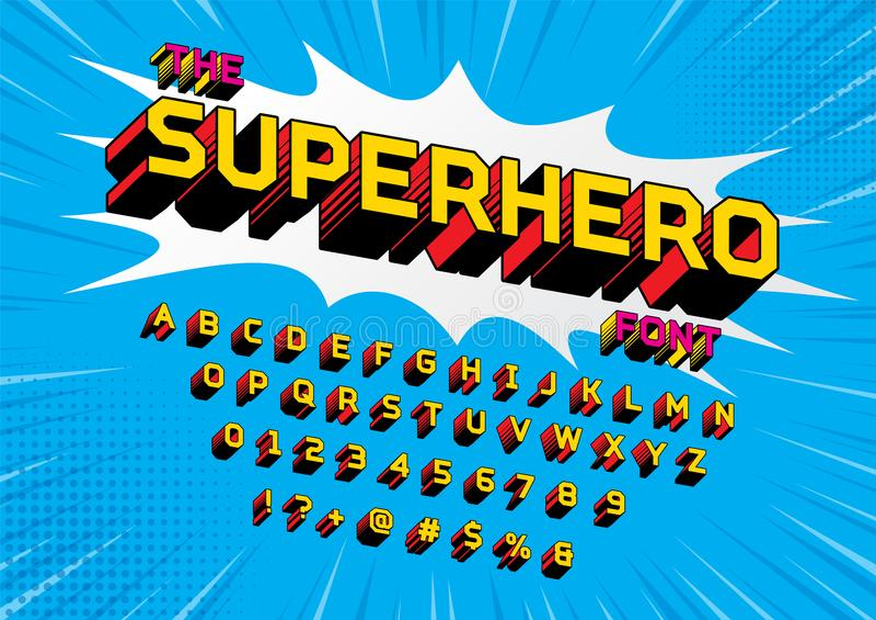 Superhero font. Superhero Comic Style Vector Font stock illustration