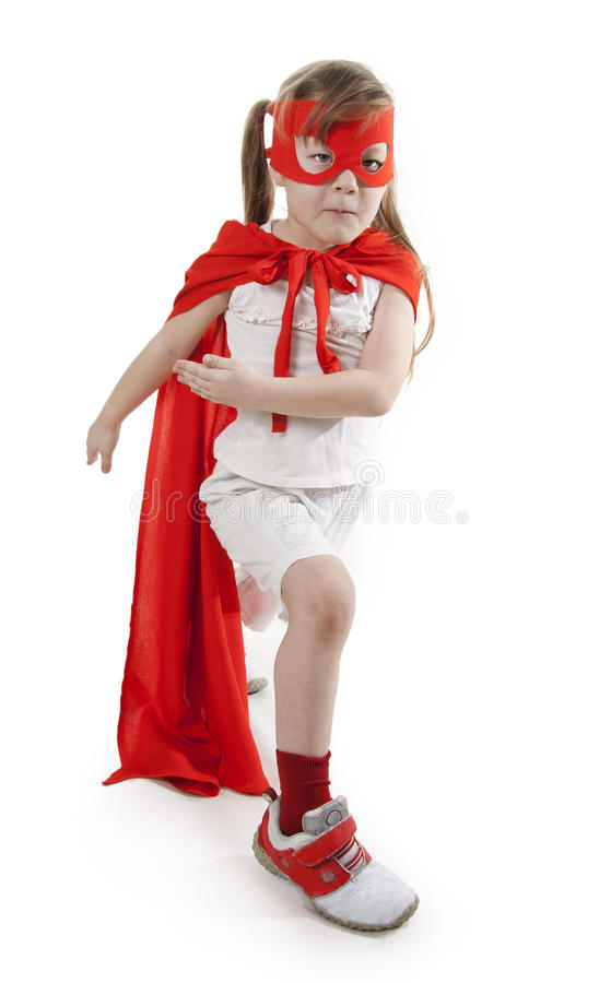 Free Superhero Girl In A Red Royalty Free Stock Images - 18468469
