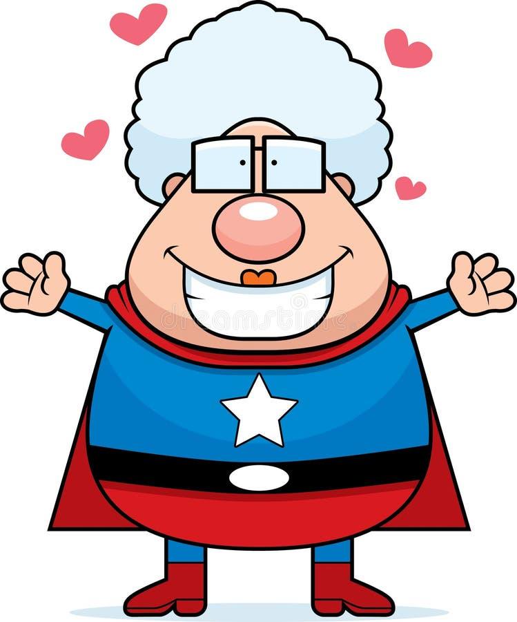 Superhero Grandma Hug stock illustration