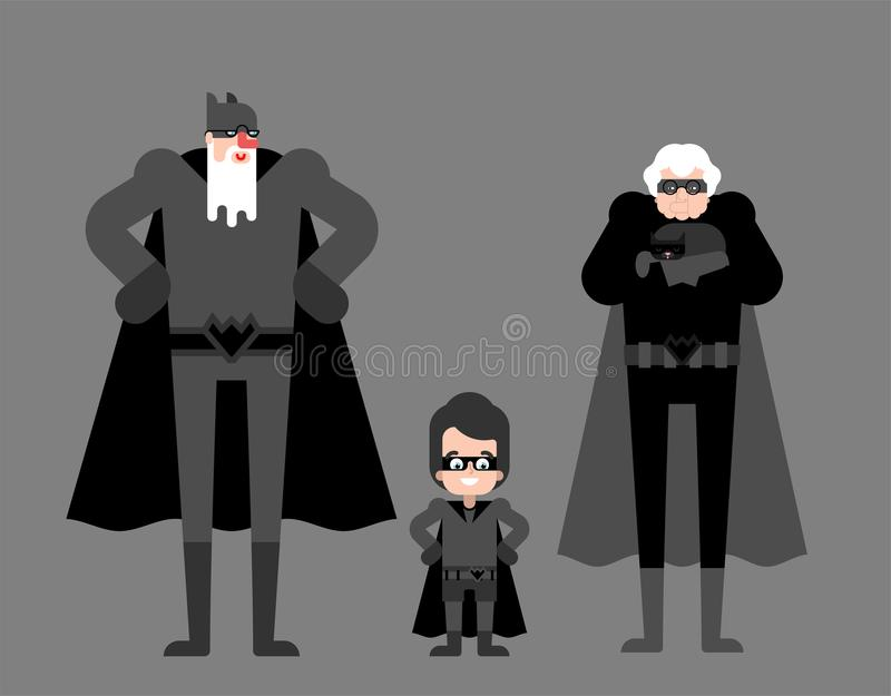 Superhero grandparents and grandson. Super grandparent in Cloak and mask. Superpowers old man. Grandfather and grandmother Cartoon. Style vector vector illustration