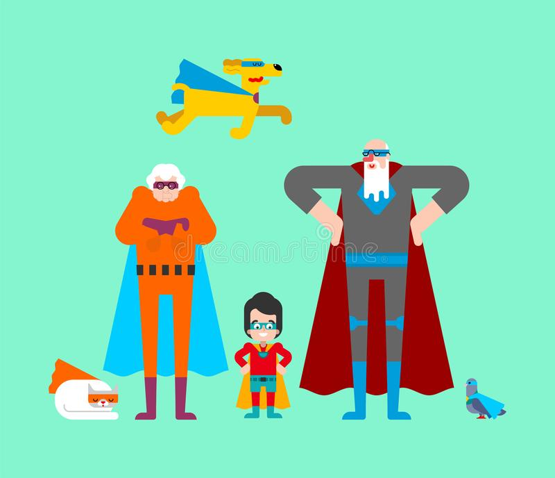 Superhero grandparents and grandson. Super grandparent in Cloak and mask. Superpowers old man. Grandfather and grandmother Cartoon. Style vector stock illustration