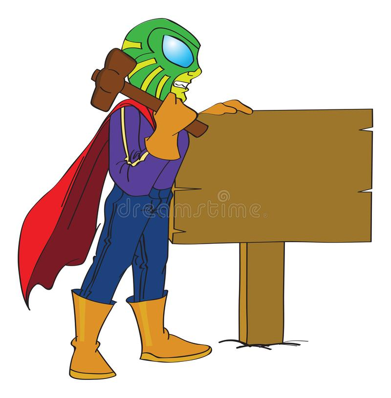 Superhero Hammering a Sign Post to the Ground, illustration illustration stock