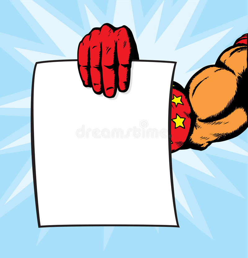 Superhero hand holding flyer. royalty free illustration