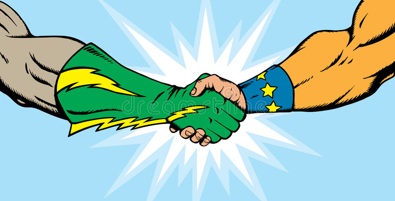 Superhero handshake royalty free illustration