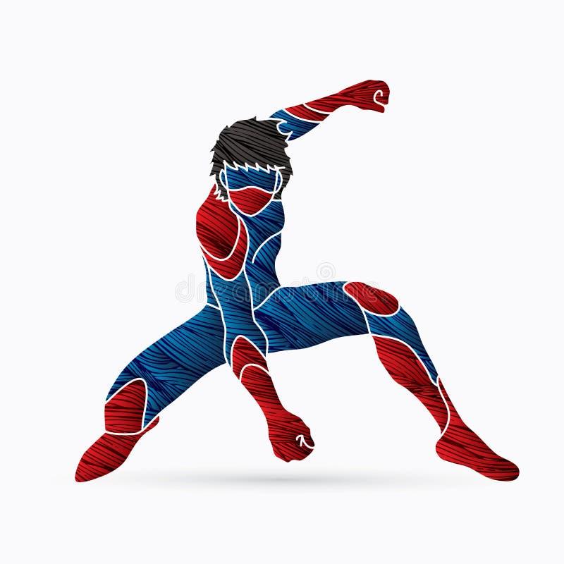 Superhero het landen actie, Beeldverhaalsuperhero vector illustratie