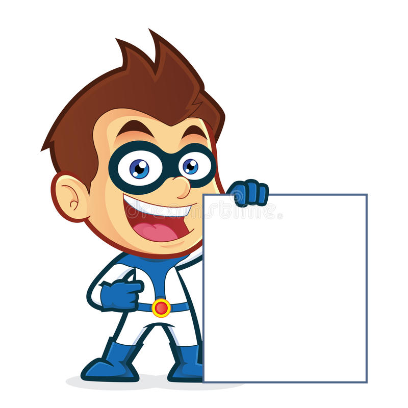 Superhero holding a blank sign royalty free illustration