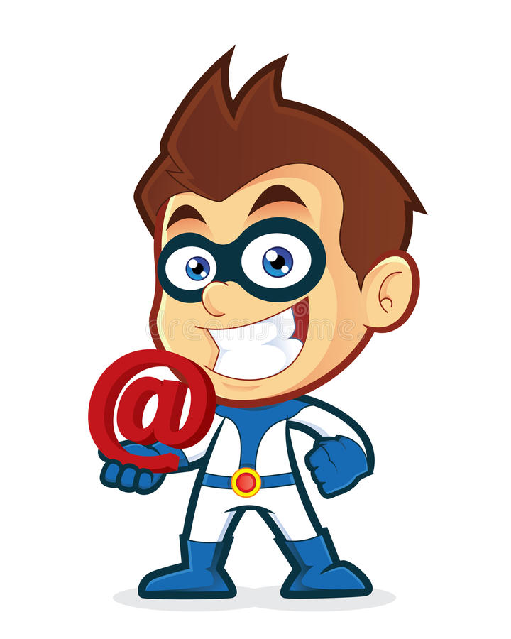Superhero holding an email at royalty free illustration