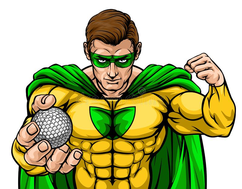 Superhero Holding Golf Ball Sports Mascot. A superhero golf sports mascot holding a ball royalty free illustration