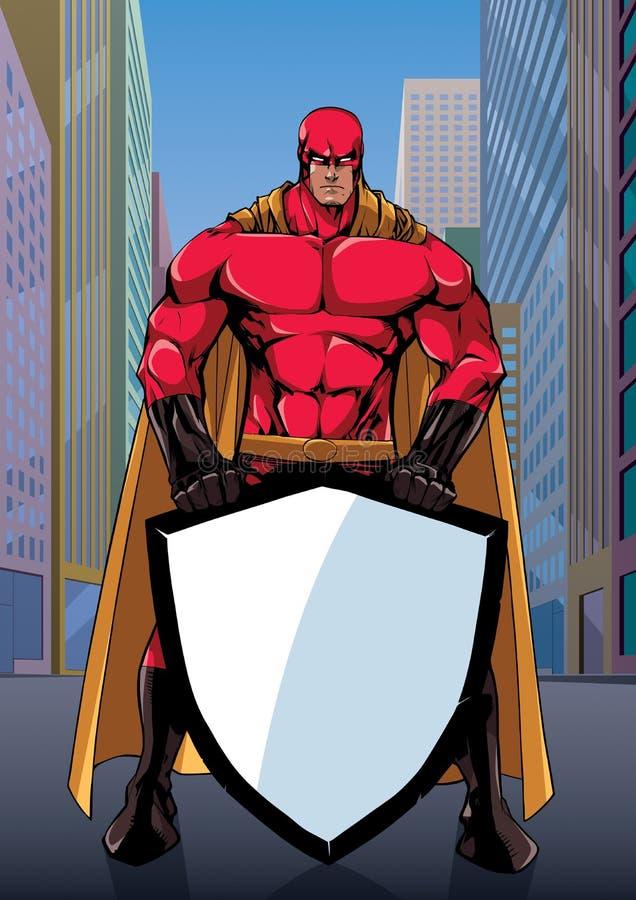 Superhero Holding Shield on Street royalty free illustration