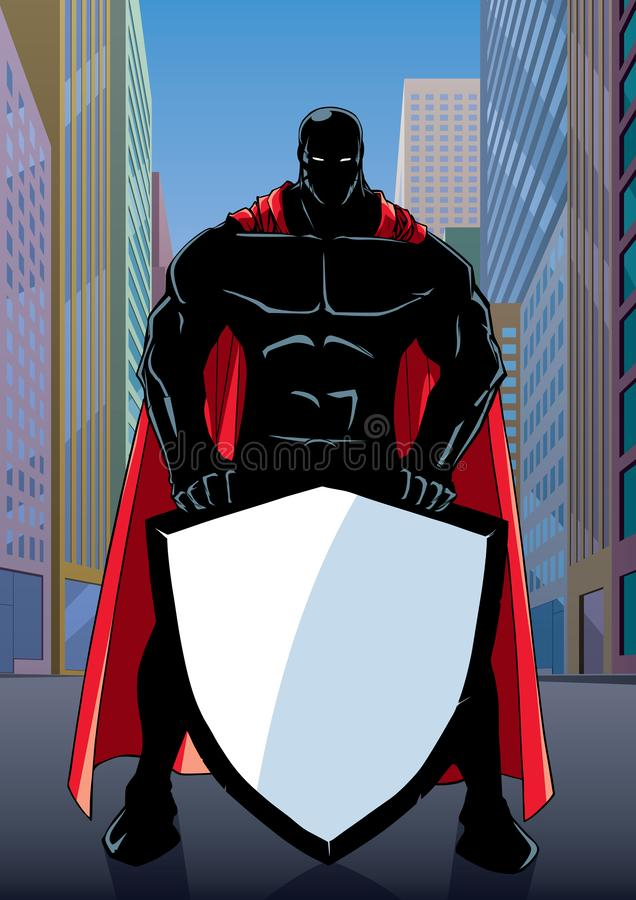 Superhero Holding Shield on Street Silhouette stock illustration