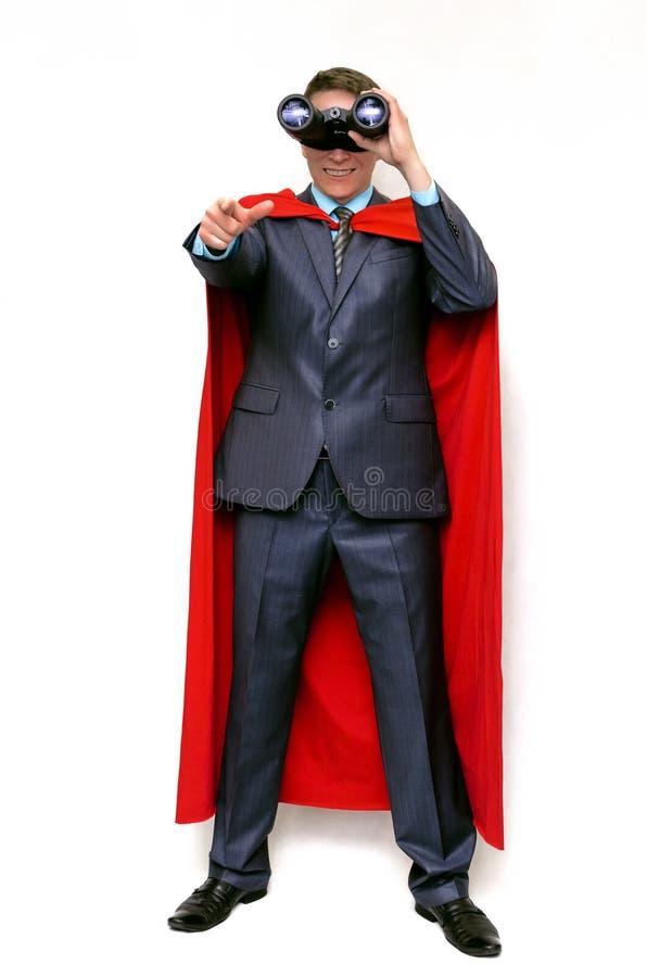 Superhero i röd udde och maskering arkivfoto