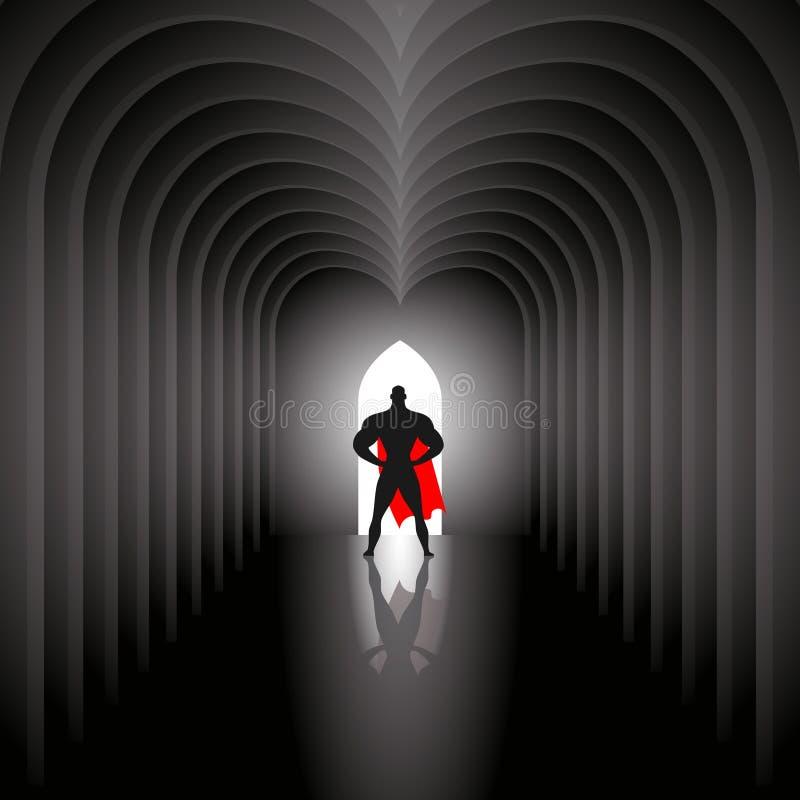 Superhero i tunnel vektor illustrationer
