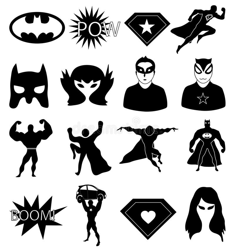 Superhero icons set stock illustration