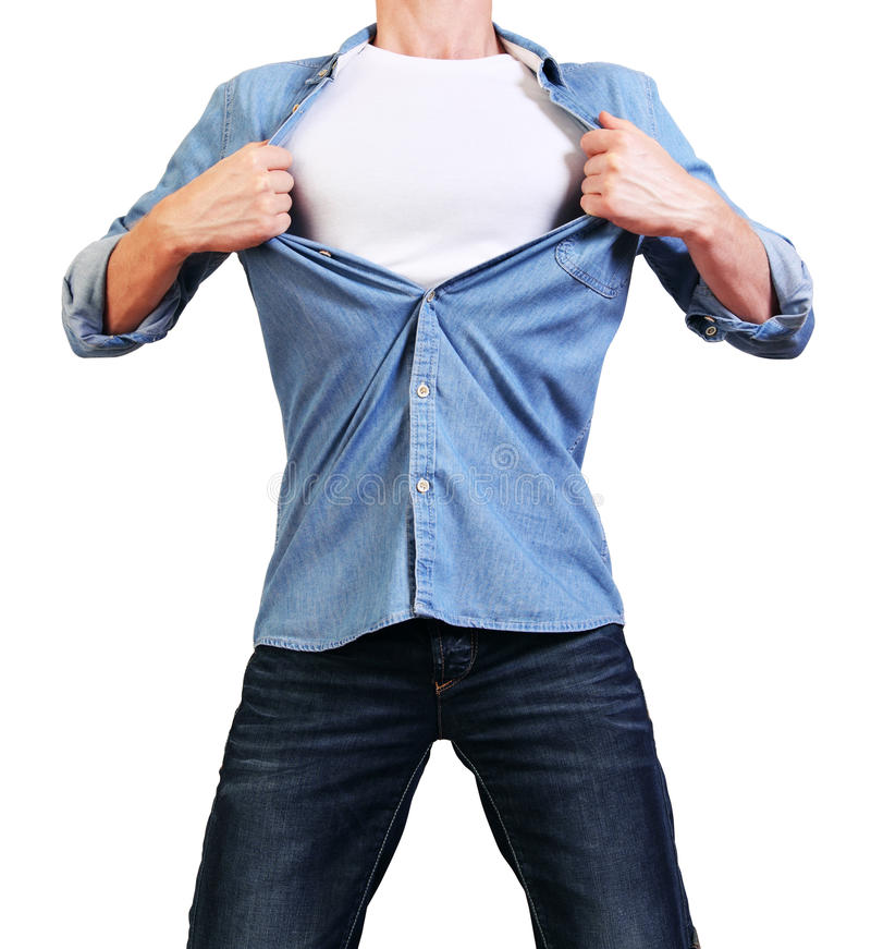 Superhero. Image of man tearing his shirt off isolated on stock photo