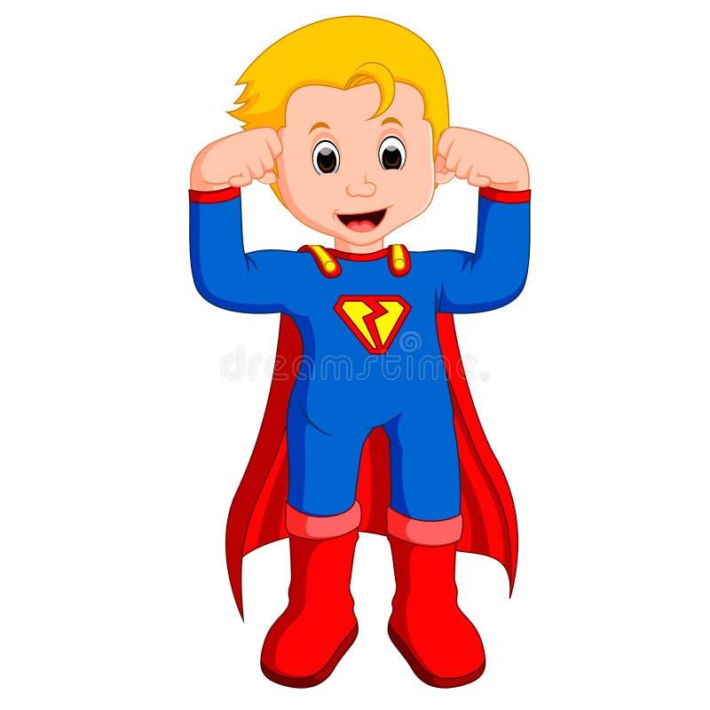 Superhero kid cartoon vector illustration