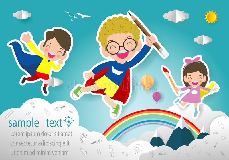 Superhero kid, Paper art  style vector illustration isolated on background Template for advertising brochure,your text vector illustration