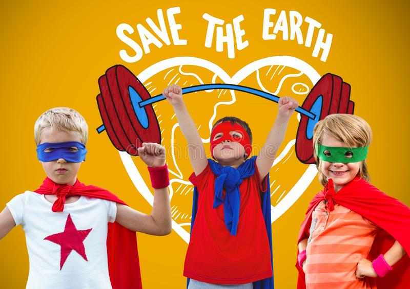 Superhero kids with blank yellow background and save the earth graphics stock photo