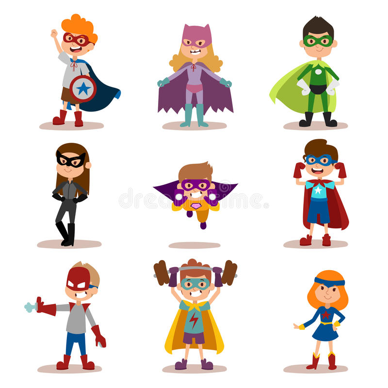 Superhero kids boys and girls cartoon vector. Illustration. Super children illustration. Super hero kids playing, fly, Super kids in action. Superkids flying