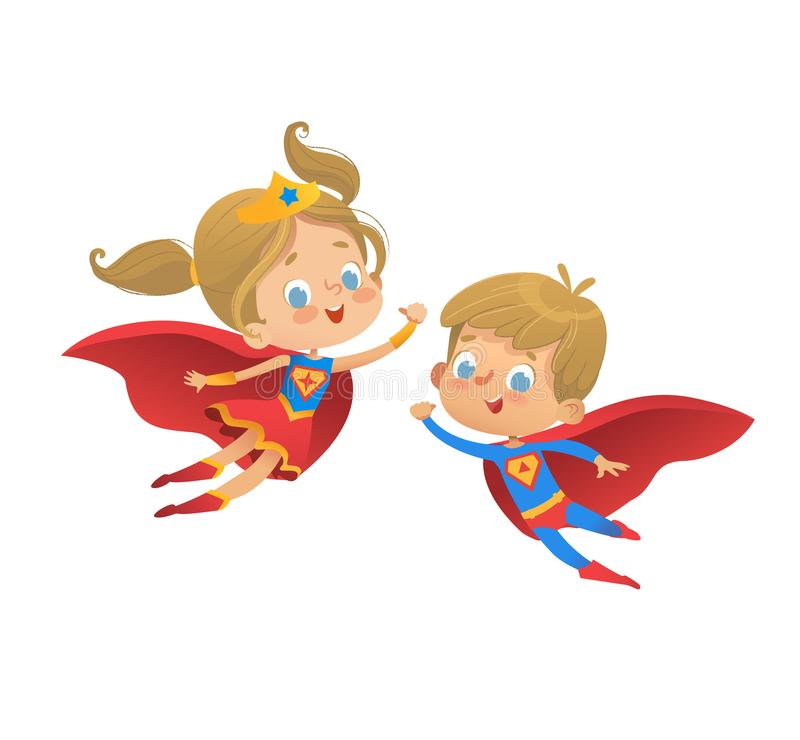 Superhero kids cartoon vector illustration. Super hero children illustration isolated on white background. Cartoon. Superhero kids boys and girls cartoon vector vector illustration
