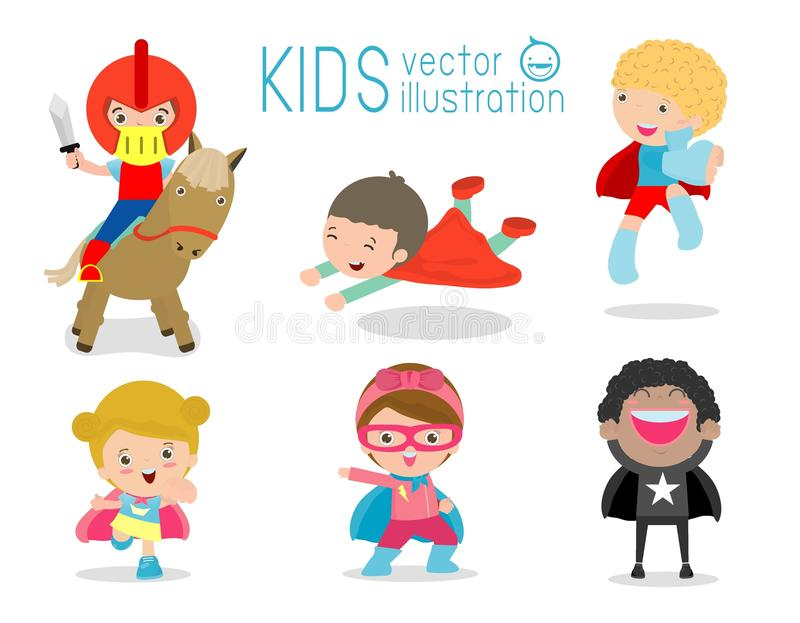Superhero Kids with costumes set, Superhero Children costume characters isolated on white background. Superhero Kids with costumes set, Superhero Children stock illustration