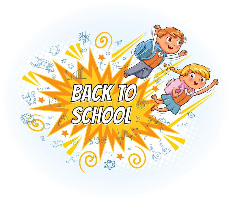 Superhero kids fly to school. Explosion with comic style. Superhero kids fly to school. Inscription Back to school. Explosion with comic style. Funny cartoon royalty free illustration