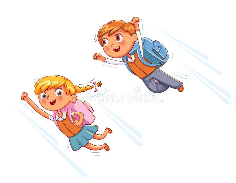 Superhero kids fly to school. Funny cartoon character. Vector illustration. Isolated on white background vector illustration