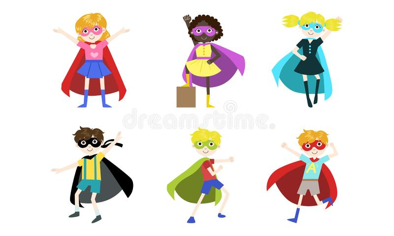 Superhero Kids Set, Happy Cute Boys and Girls in Costumes of Superhero, Capes amd Masks Vector Illustration. On White Background royalty free illustration