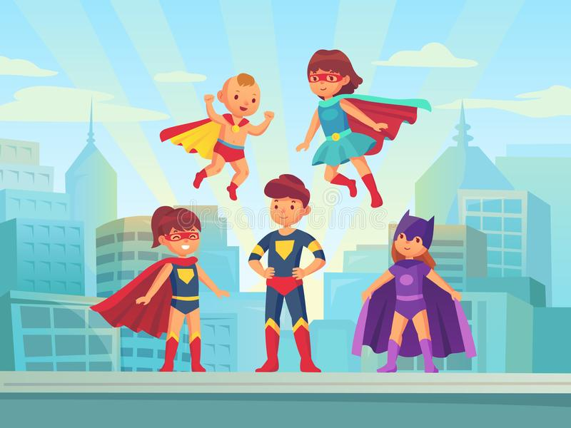 Superhero kids team. Comic hero kid in super costume with cloak on urban roof. Children superheroes vector cartoon. Superhero kids team. Comic hero kid muscle in stock illustration