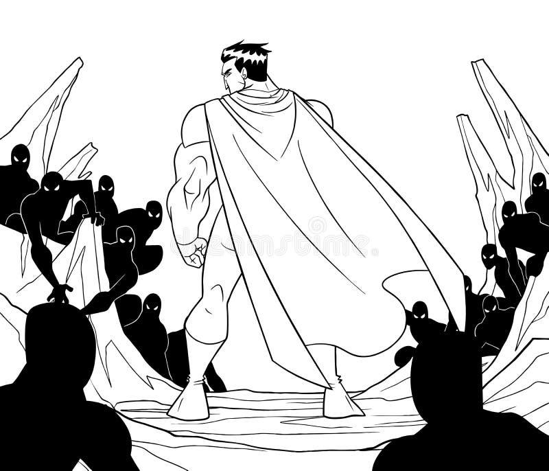Superhero Klaar voor het Art. van de Slaglijn vector illustratie