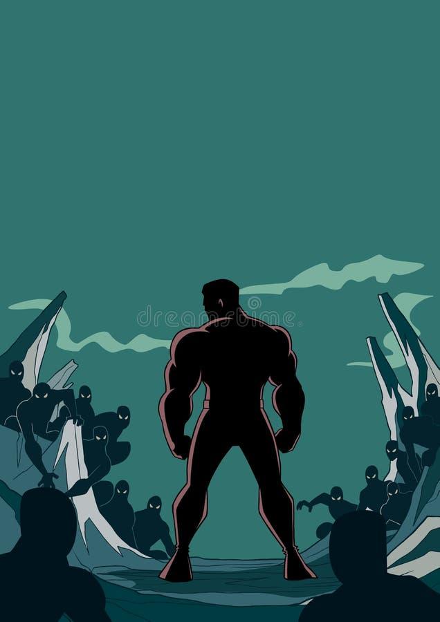 Superhero Klaar voor Slagsilhouet 2 vector illustratie