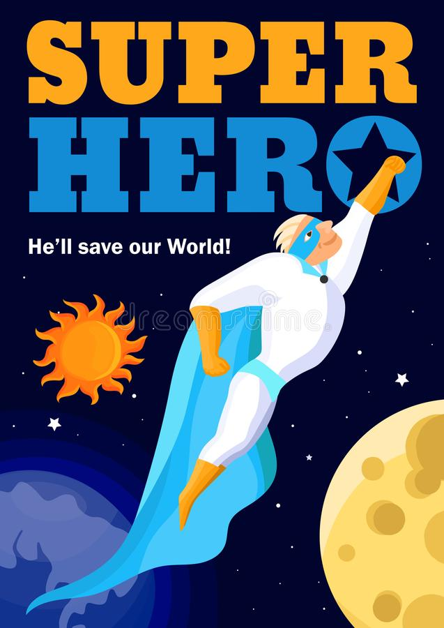 Superhero in Kosmische ruimteaffiche vector illustratie
