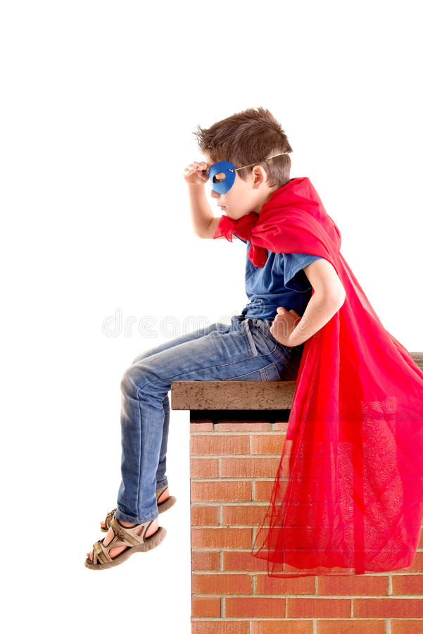Superhero. Little boy pretending to be a superhero stock images
