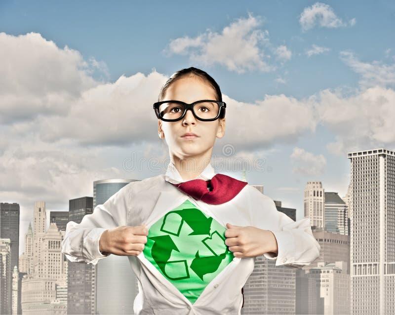 Superhero little girl royalty free stock image