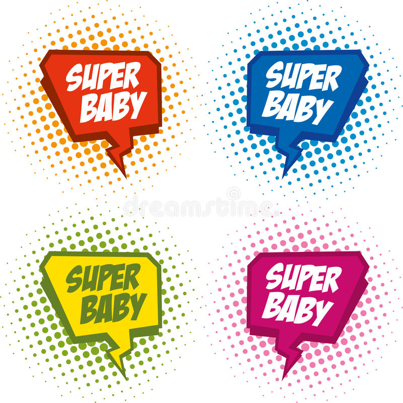 Superhero logo baby, pop art background vector illustration