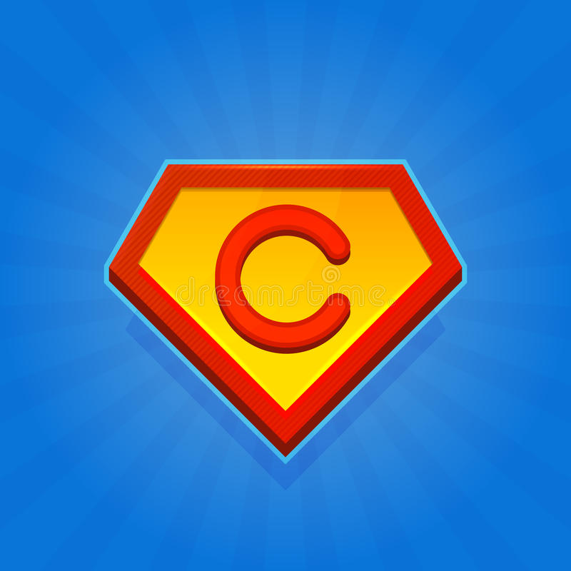 Superhero Logo Icon with Letter C on Blue Background. Vector stock illustration