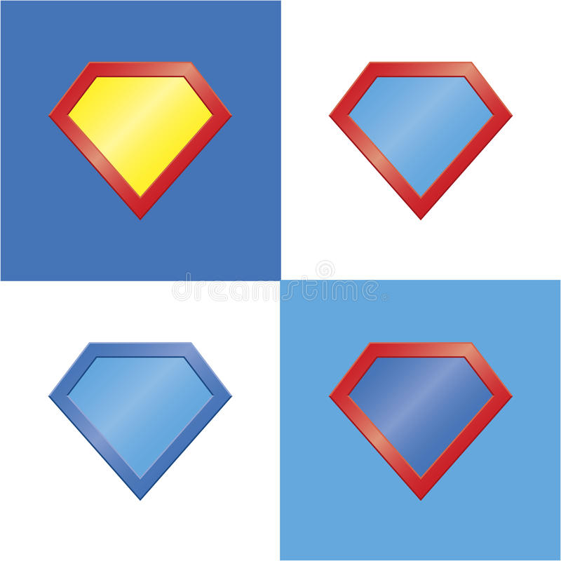 Superhero logo template blank super hero badge set royalty free illustration