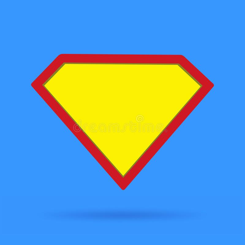 Superhero icon symbol sign on blue background with soft shadow stock illustration