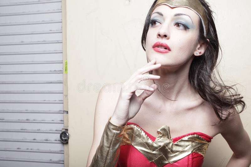 Superhero Looking Out For Crime Royalty Free Stock Image