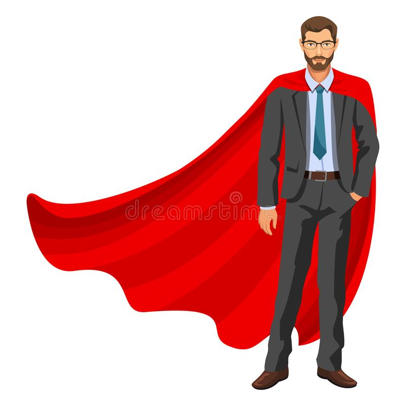 Superhero man in red cape, male hero, businessman superhero. Bearded guy in business suit with tie and glasses. Success concept. Vector, 10 eps vector illustration