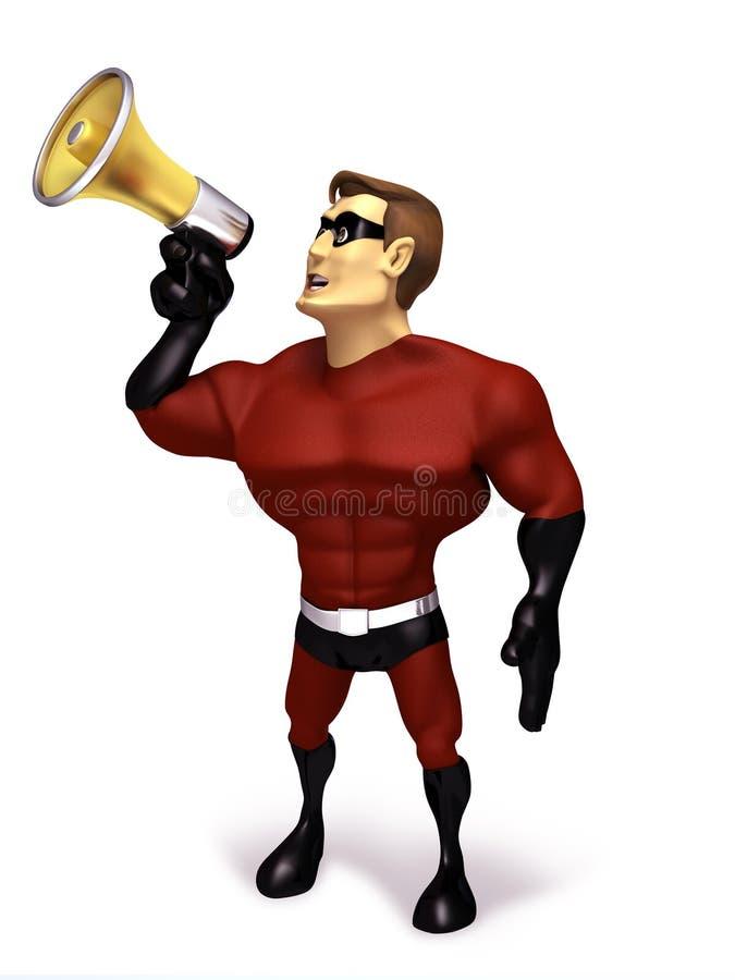 Superhero met megafoon vector illustratie