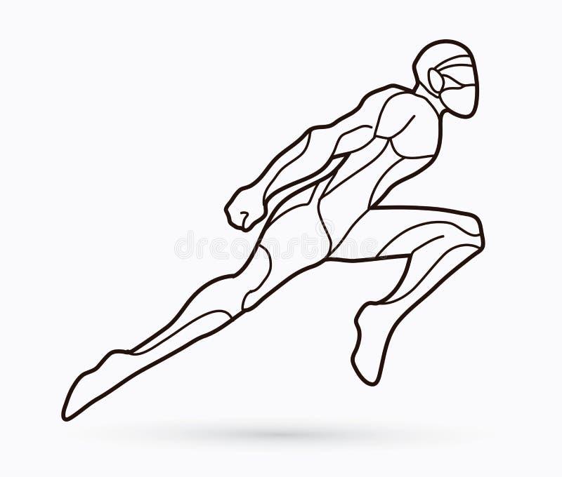 Superhero Ninja robot flying action, Cartoon superhero stock illustration