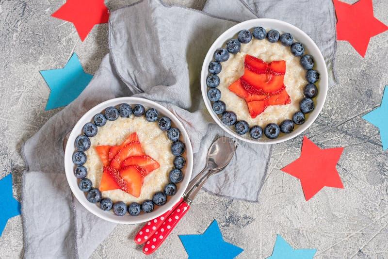 Superhero Oatmeal porridge for kids breakfast stock photography