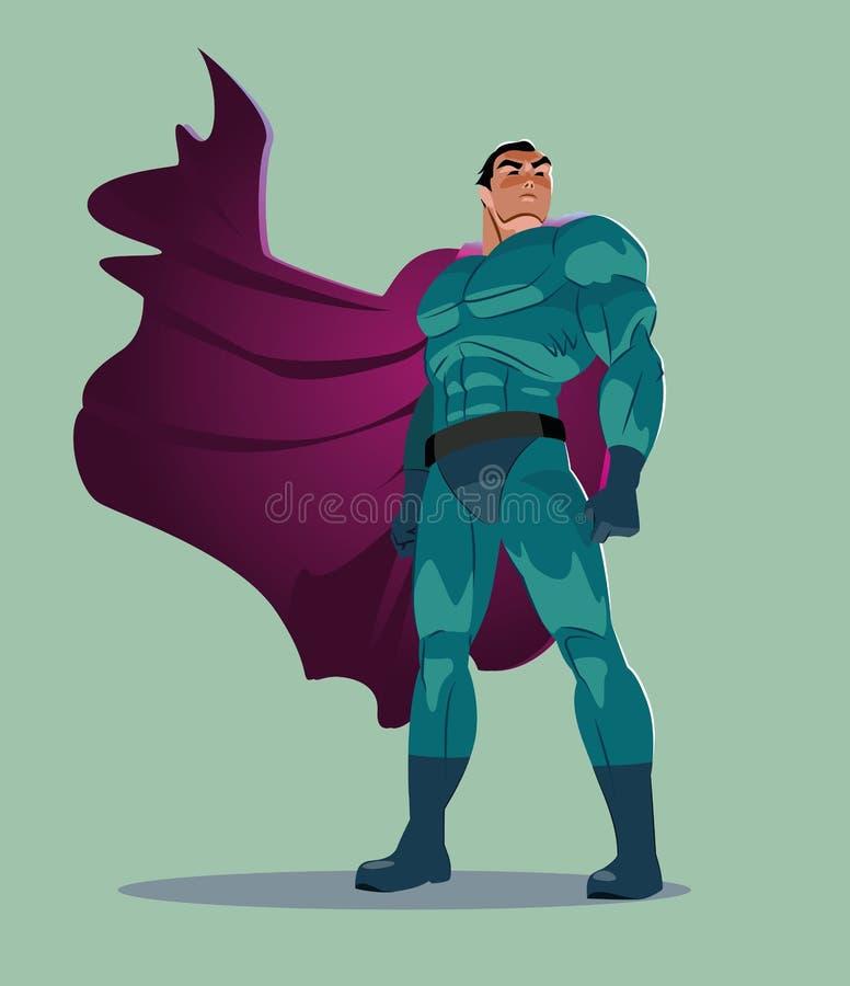 Superhero onderzoekt de afstand stock illustratie