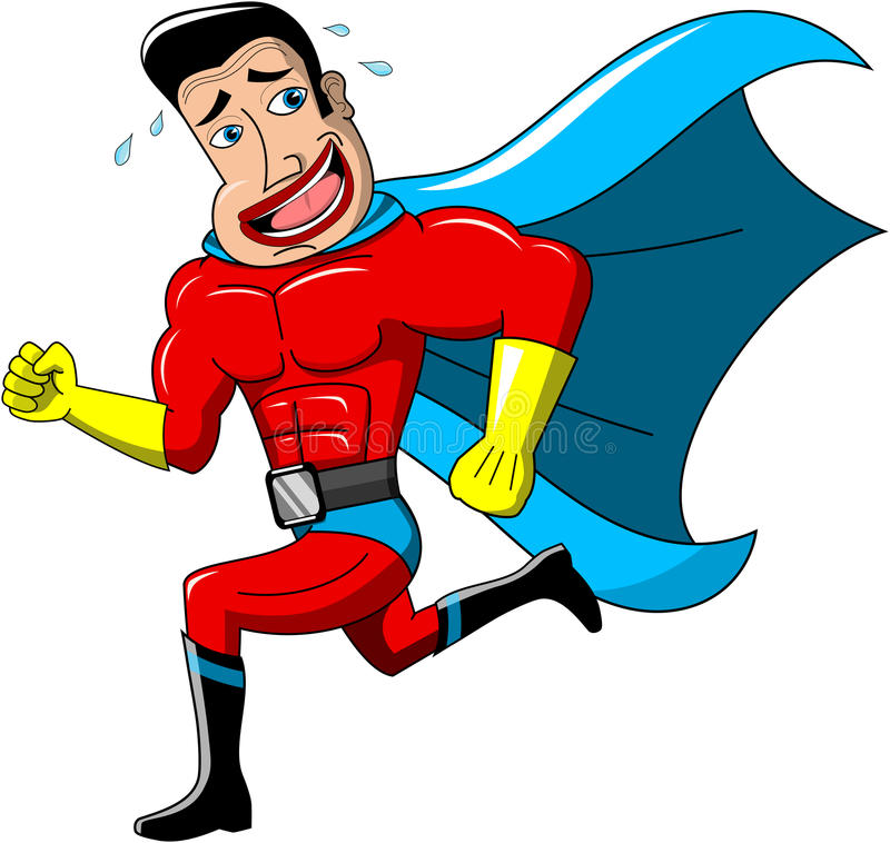 Superhero Ongerust gemaakt Ontsnappen Geïsoleerd royalty-vrije illustratie