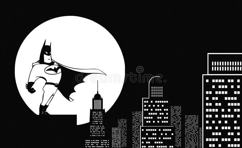 Superhero op een dak vector illustratie